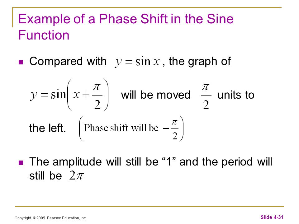 Copyright © 2005 Pearson Education, Inc. Slide 4-31 Example of a Phase Shift in the Sine Function Compared with, the graph of will be moved units to t