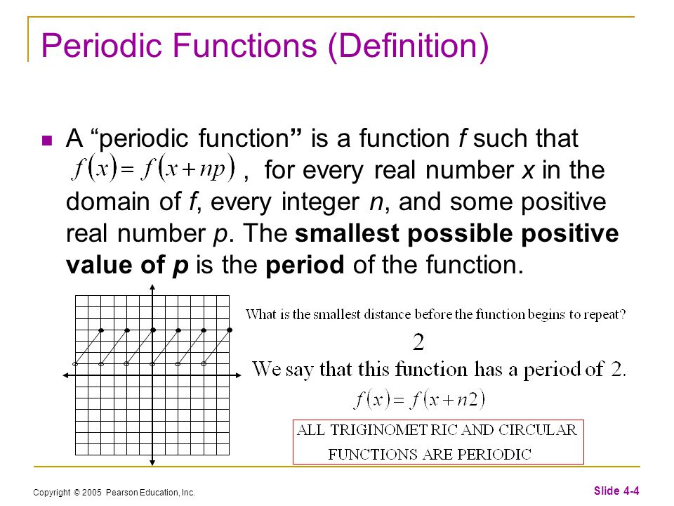 """Copyright © 2005 Pearson Education, Inc. Slide 4-4 Periodic Functions (Definition) A """"periodic function"""" is a function f such that, for every real num"""