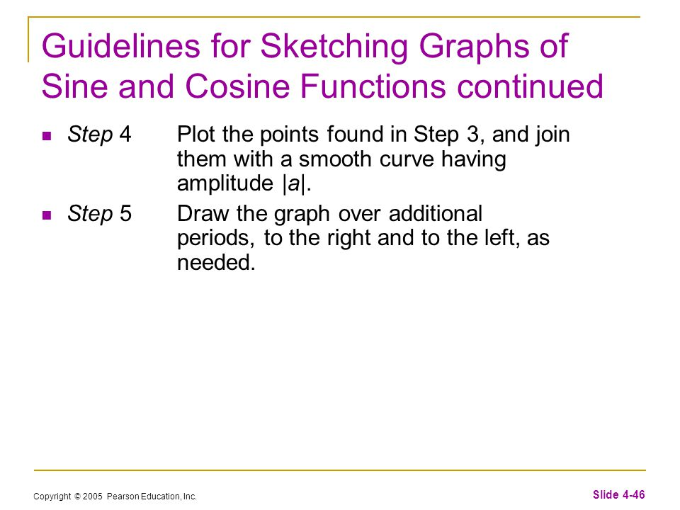 Copyright © 2005 Pearson Education, Inc. Slide 4-46 Guidelines for Sketching Graphs of Sine and Cosine Functions continued Step 4Plot the points found