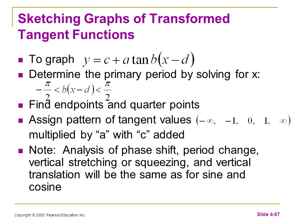 Copyright © 2005 Pearson Education, Inc. Slide 4-67 Sketching Graphs of Transformed Tangent Functions To graph Determine the primary period by solving
