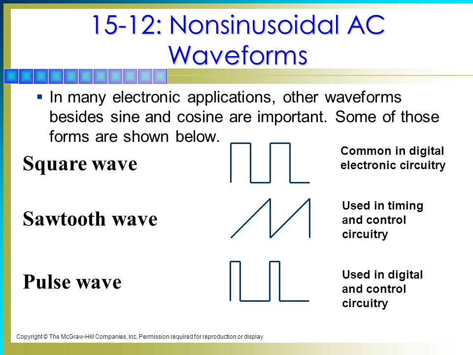 15-12: Nonsinusoidal AC Waveforms  In many electronic applications, other waveforms besides sine and cosine are important. Some of those forms are sh