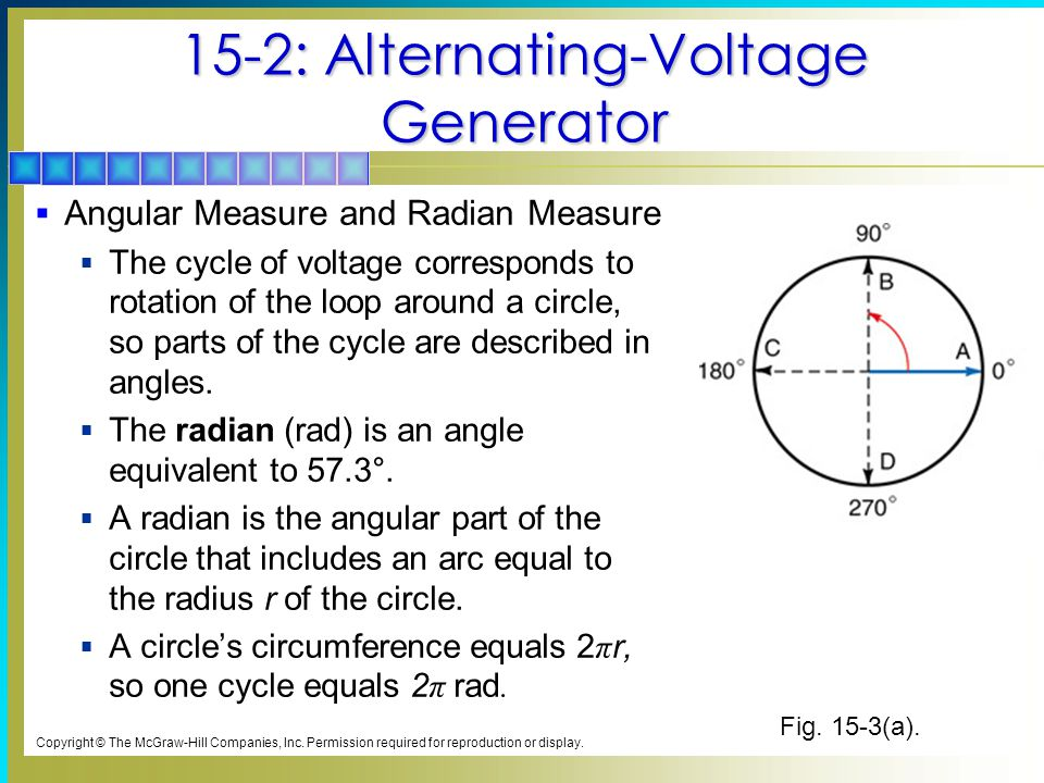 15-2: Alternating-Voltage Generator  Angular Measure and Radian Measure  The cycle of voltage corresponds to rotation of the loop around a circle, s