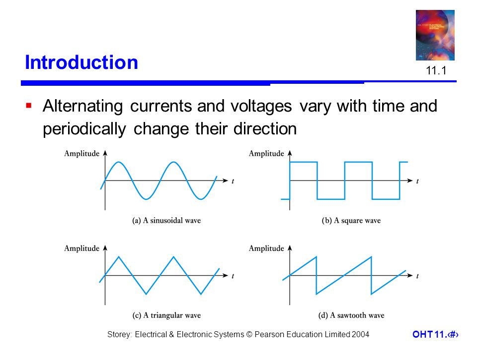 Storey: Electrical & Electronic Systems © Pearson Education Limited 2004 OHT 11.3 Sine Waves  Sine waves –by far the most important form of alternating quantity  important properties are shown below 11.2