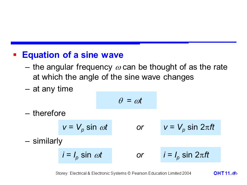 Storey: Electrical & Electronic Systems © Pearson Education Limited 2004 OHT 11.7  Example – see Example 11.2 in the course text Determine the equation of the following voltage signal.