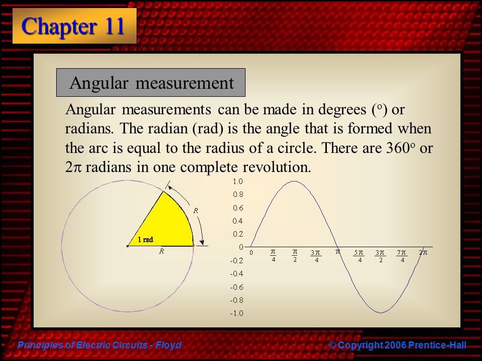 Principles of Electric Circuits - Floyd© Copyright 2006 Prentice-Hall Chapter 11 Angular measurements can be made in degrees ( o ) or radians. The rad