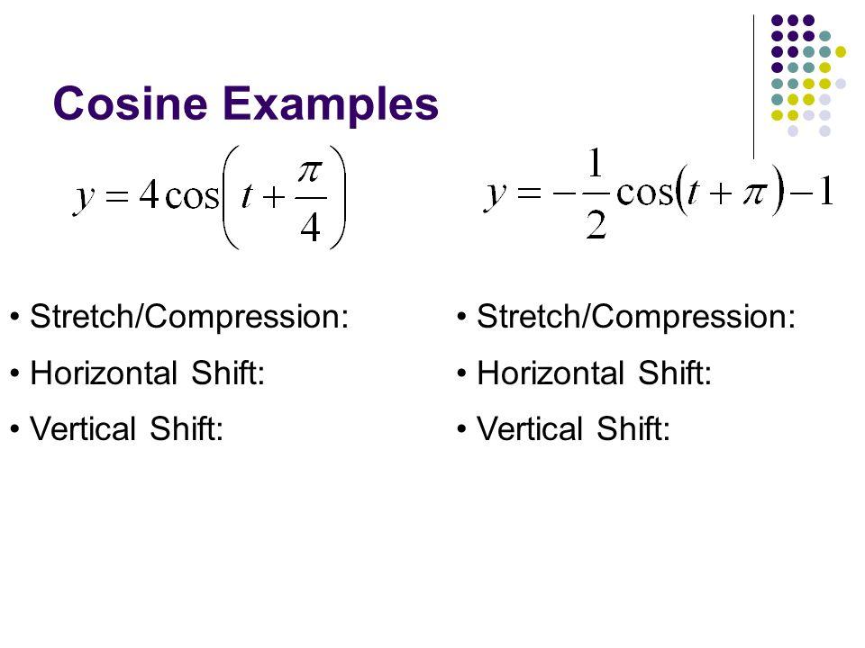 Cosine Examples Stretch/Compression: Horizontal Shift: Vertical Shift: Stretch/Compression: Horizontal Shift: Vertical Shift:
