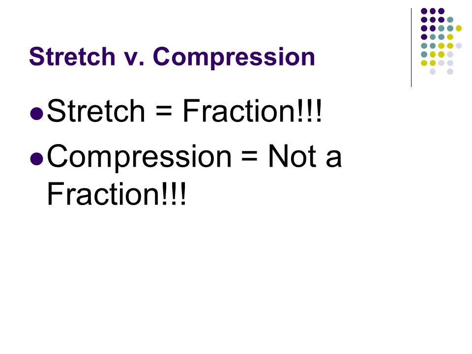 Stretch v. Compression Stretch = Fraction!!! Compression = Not a Fraction!!!