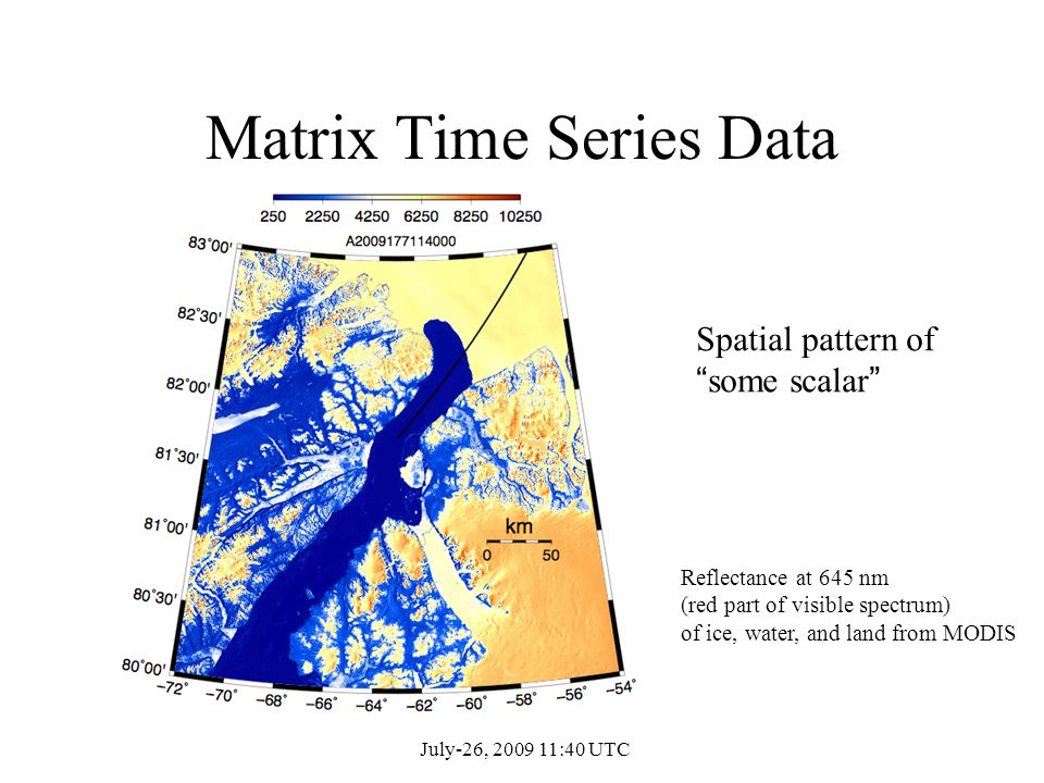 Matrix Time Series Data Spatial pattern of some scalar Reflectance at 645 nm (red part of visible spectrum) of ice, water, and land from MODIS July-26, 2009 11:40 UTC