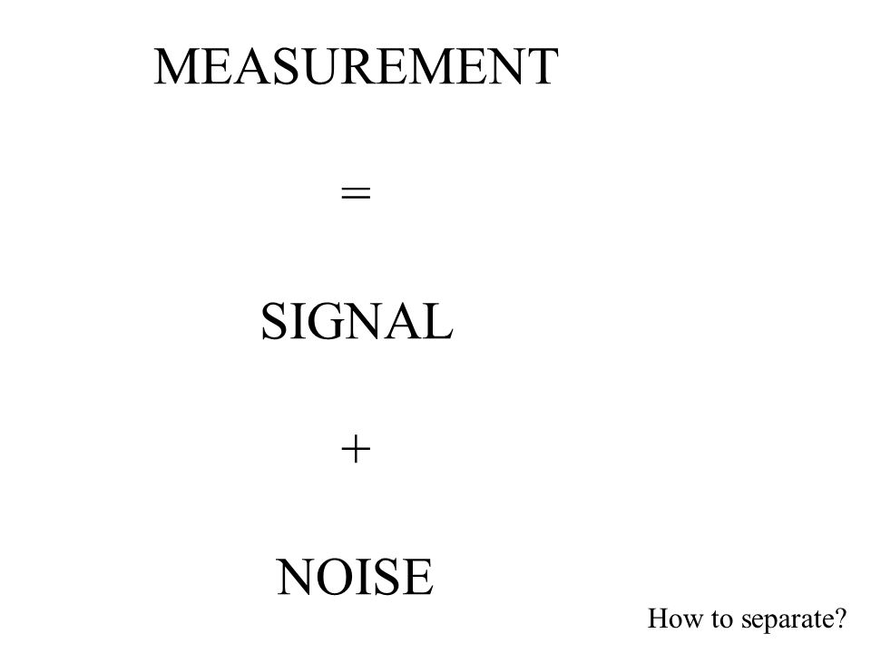 MEASUREMENT = SIGNAL + NOISE How to separate