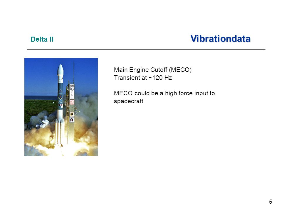 5 Main Engine Cutoff (MECO) Transient at ~120 Hz MECO could be a high force input to spacecraft Vibrationdata Delta II