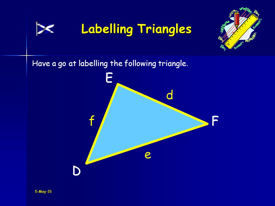 F E D F E D 5-May-15 Labelling Triangles d e f Have a go at labelling the following triangle.