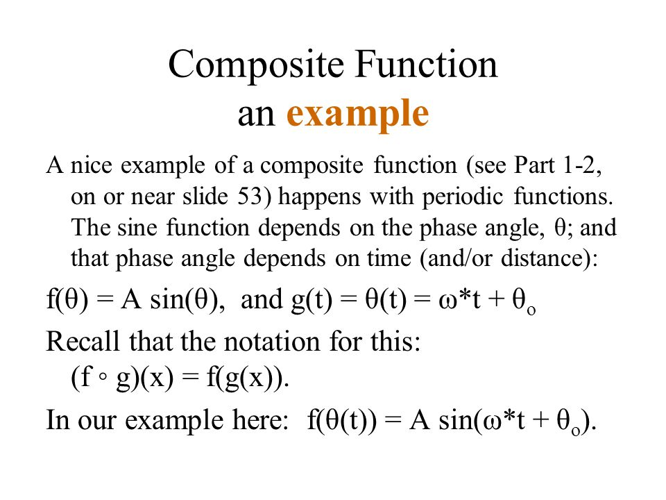 Composite Function an example A nice example of a composite function (see Part 1-2, on or near slide 53) happens with periodic functions.