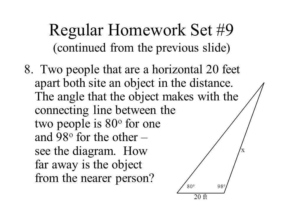 Regular Homework Set #9 (continued from the previous slide) 8.