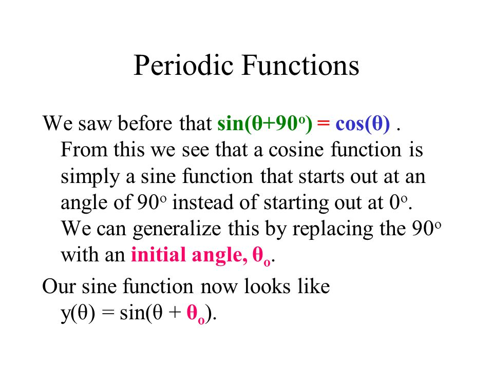 Periodic Functions We saw before that sin(θ+90 o ) = cos(θ).