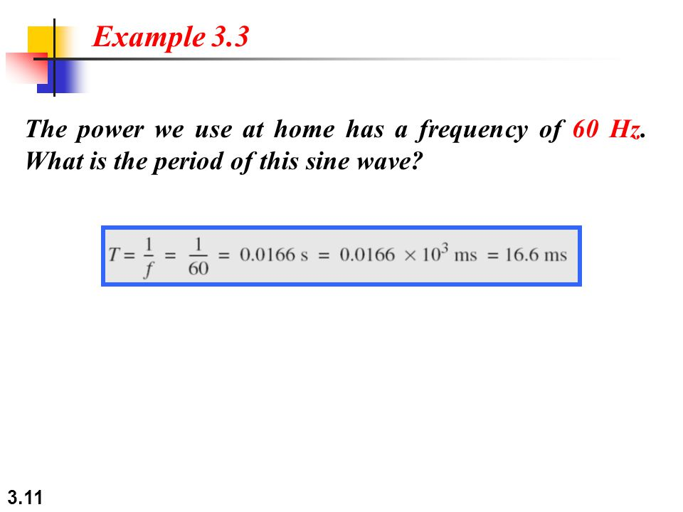 3.11 The power we use at home has a frequency of 60 Hz. What is the period of this sine wave? Example 3.3