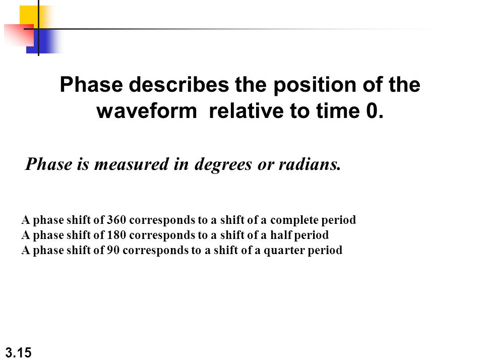 3.15 Phase describes the position of the waveform relative to time 0. Phase is measured in degrees or radians. A phase shift of 360 corresponds to a s