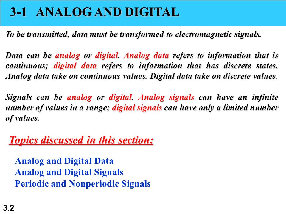 3.2 3-1 ANALOG AND DIGITAL To be transmitted, data must be transformed to electromagnetic signals. Data can be analog or digital. Analog data refers t