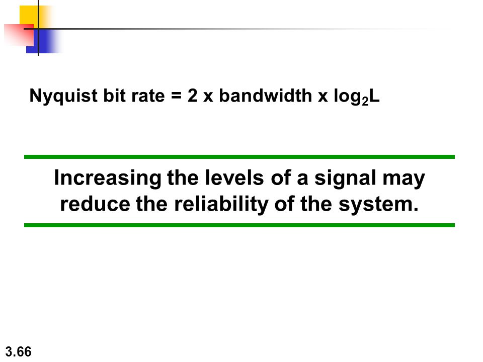 3.66 Increasing the levels of a signal may reduce the reliability of the system. Nyquist bit rate = 2 x bandwidth x log 2 L