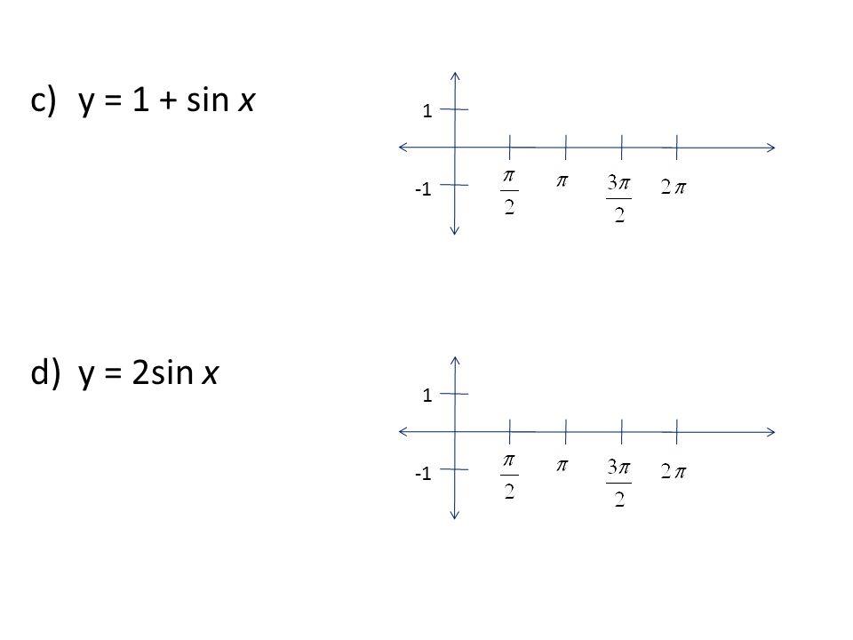 c)y = 1 + sin x d)y = 2sin x 1 1