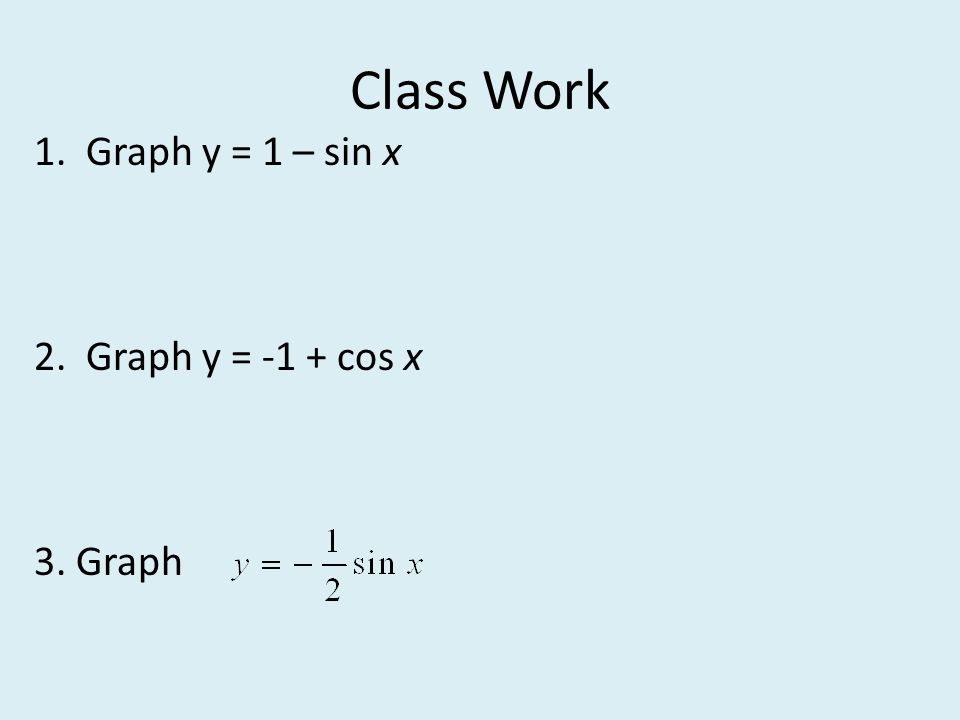 Class Work 1. Graph y = 1 – sin x 2. Graph y = -1 + cos x 3. Graph