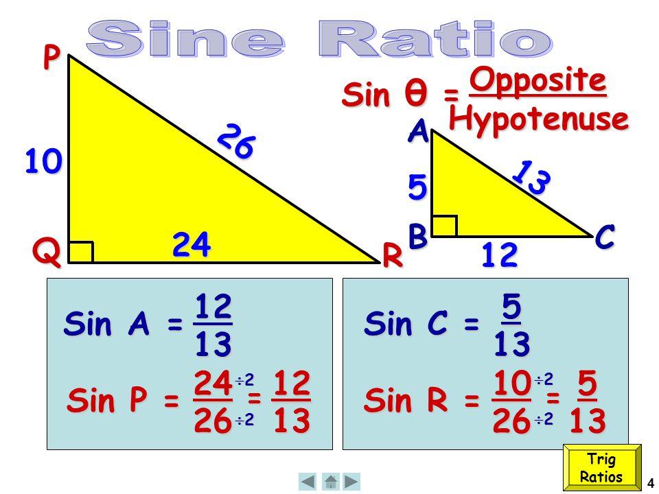 4 26 P Q R 10 Sin A = 12 13 13 12 A B 5 C Sin P = 24 26 = 12 13 22222222 Sin C = 5 13 Sin R = 10 26 = 5 13 22222222 24 Trig Ratios Sin θ = OppositeHypotenuse