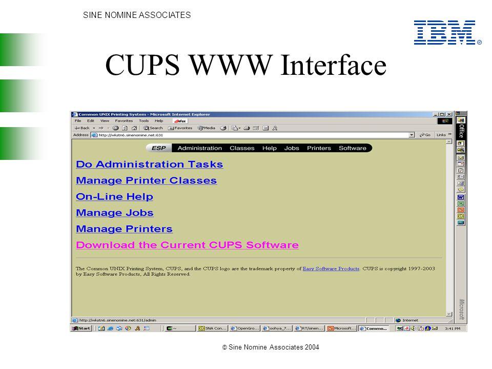 SINE NOMINE ASSOCIATES © Sine Nomine Associates 2004 CUPS WWW Interface