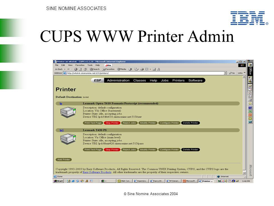 SINE NOMINE ASSOCIATES © Sine Nomine Associates 2004 CUPS WWW Printer Admin