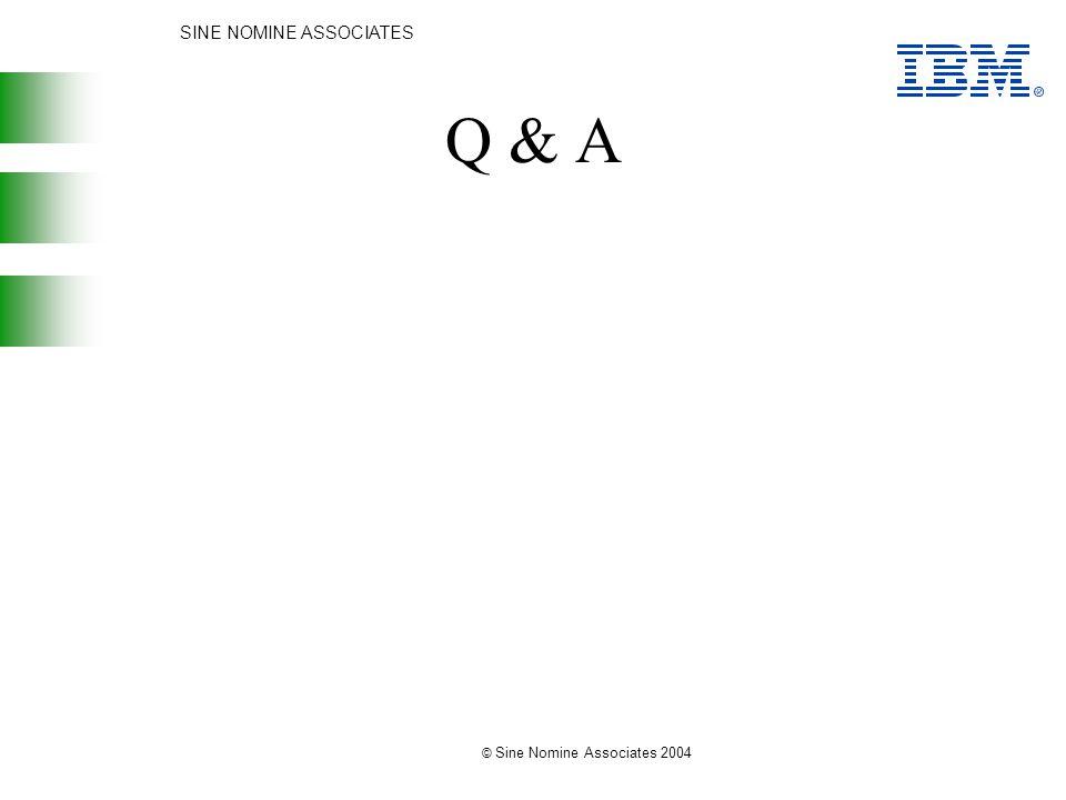 SINE NOMINE ASSOCIATES © Sine Nomine Associates 2004 Q & A