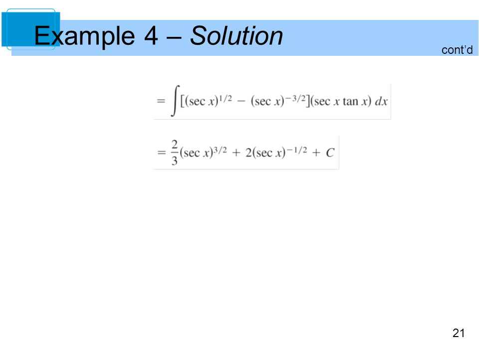 21 Example 4 – Solution cont'd