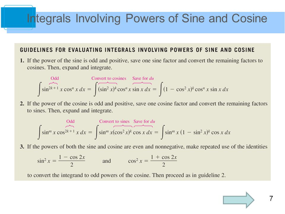 7 Integrals Involving Powers of Sine and Cosine