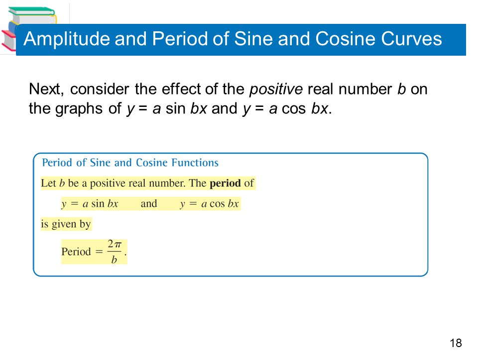 18 Amplitude and Period of Sine and Cosine Curves Next, consider the effect of the positive real number b on the graphs of y = a sin bx and y = a cos bx.