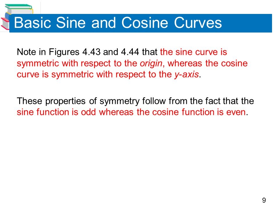 9 Basic Sine and Cosine Curves Note in Figures 4.43 and 4.44 that the sine curve is symmetric with respect to the origin, whereas the cosine curve is symmetric with respect to the y-axis.