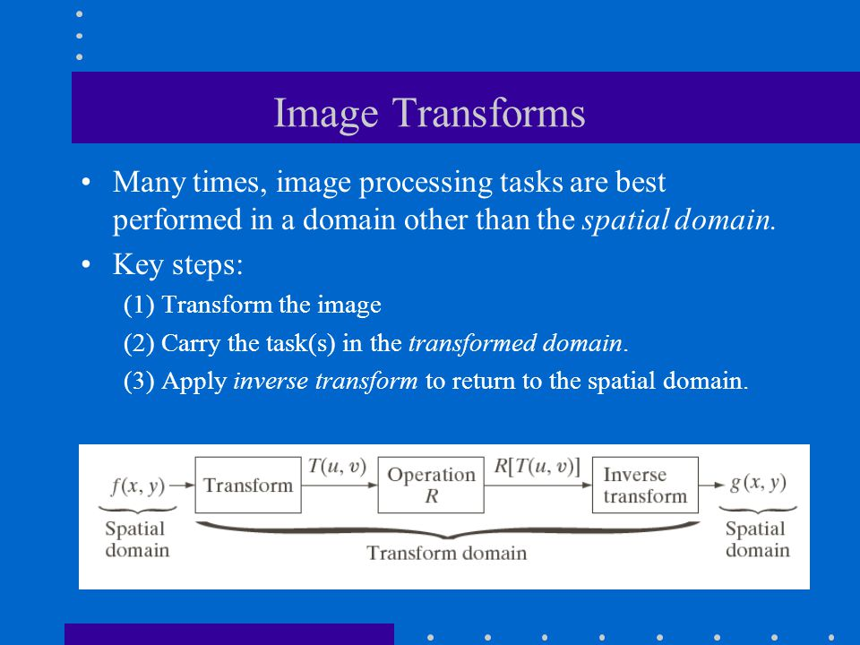 Image Transforms Many times, image processing tasks are best performed in a domain other than the spatial domain. Key steps: (1) Transform the image (