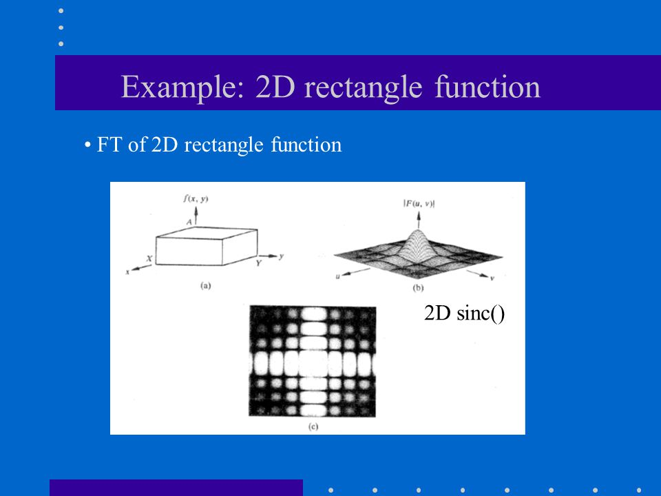 Example: 2D rectangle function FT of 2D rectangle function 2D sinc()