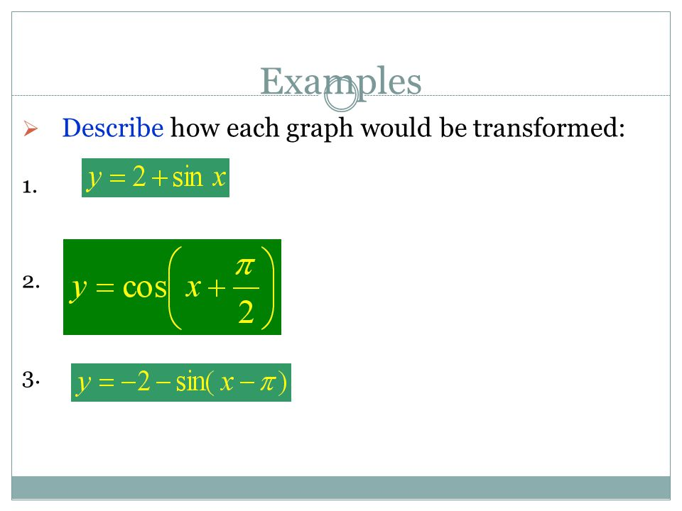 Examples  Describe how each graph would be transformed: 1. 2. 3.