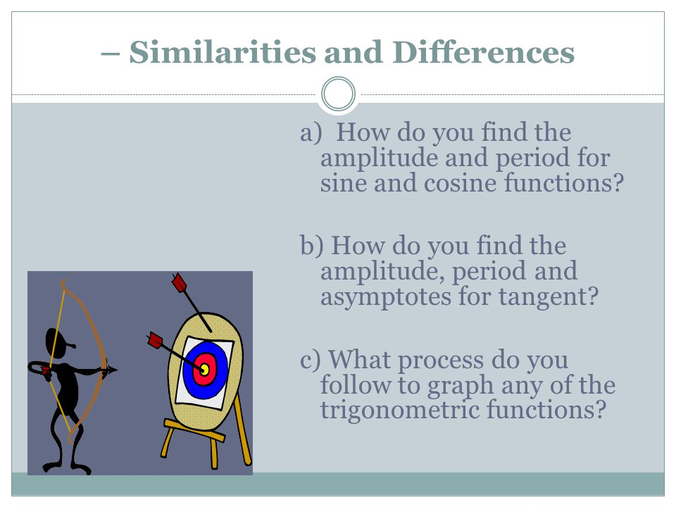 – Similarities and Differences a) How do you find the amplitude and period for sine and cosine functions? b) How do you find the amplitude, period and