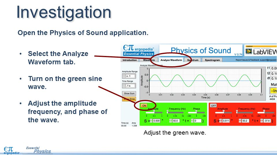 Select the Analyze Waveform tab. Turn on the green sine wave. Adjust the amplitude frequency, and phase of the wave. Open the Physics of Sound applica