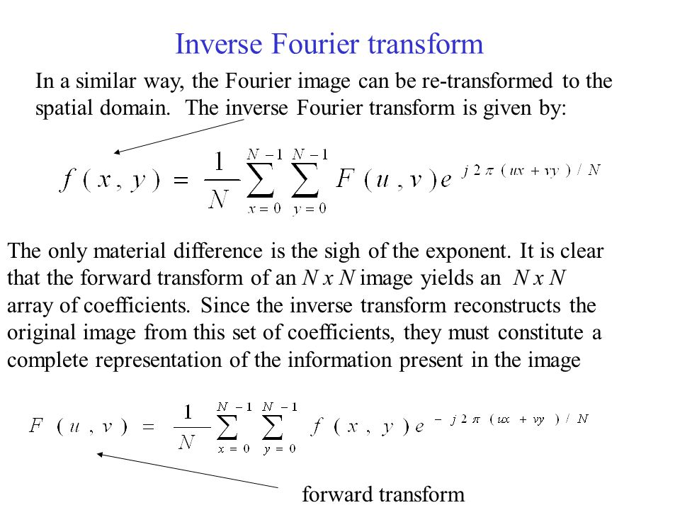 Inverse Fourier transform In a similar way, the Fourier image can be re-transformed to the spatial domain.