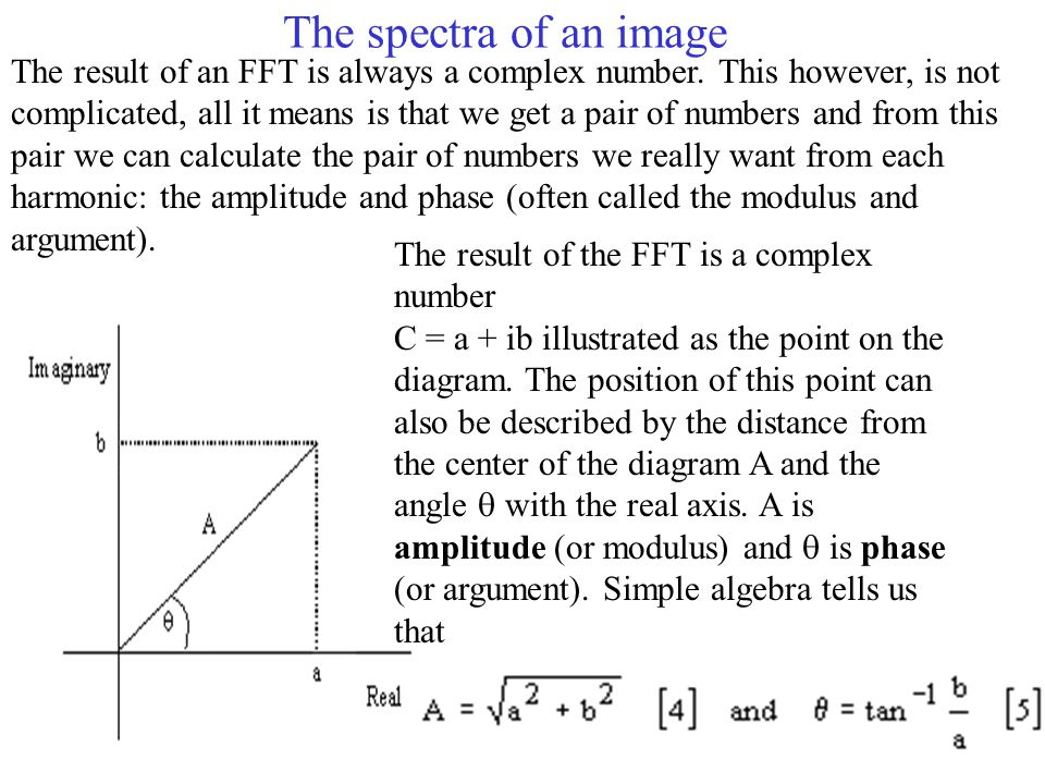 The spectra of an image The result of an FFT is always a complex number.