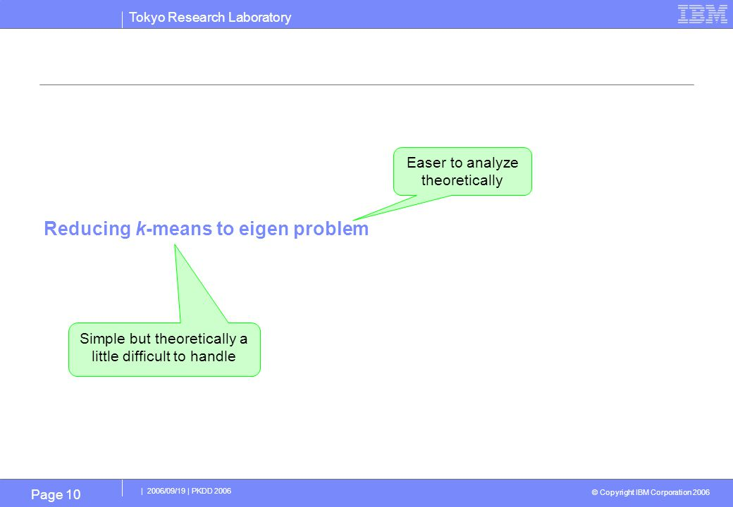 Tokyo Research Laboratory © Copyright IBM Corporation 2006 | 2006/09/19 | PKDD 2006 Page 10 Reducing k-means to eigen problem Easer to analyze theoretically Simple but theoretically a little difficult to handle