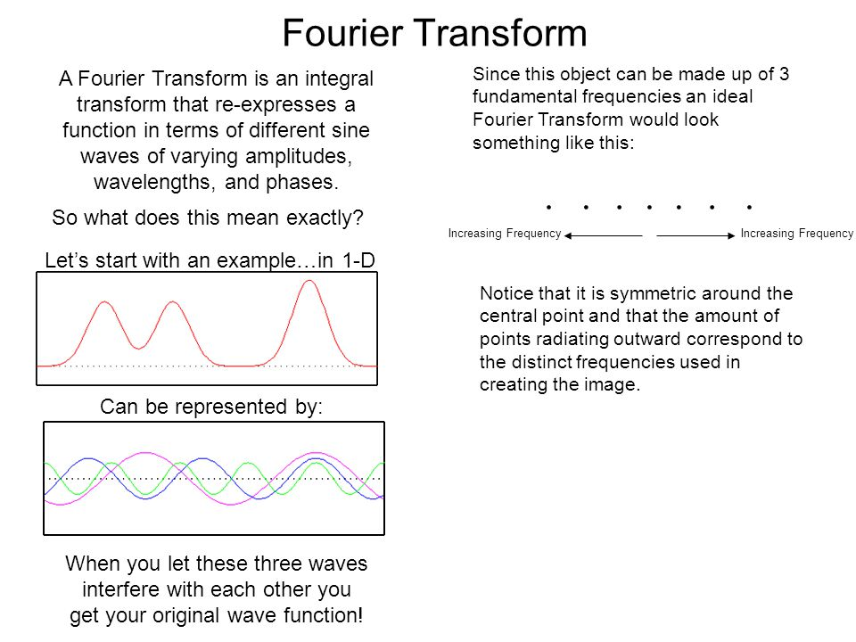 Fourier Transform A Fourier Transform is an integral transform that re-expresses a function in terms of different sine waves of varying amplitudes, wa