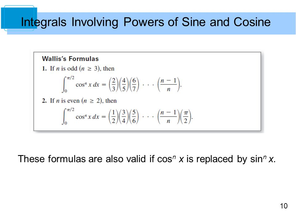 10 These formulas are also valid if cos n x is replaced by sin n x.