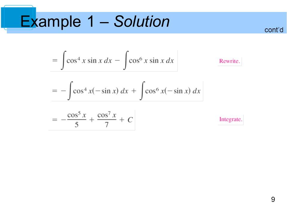9 Example 1 – Solution cont'd
