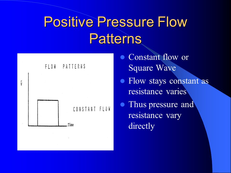 Positive Pressure Flow Pattern Considerations Flow = Pressure divided by resistance