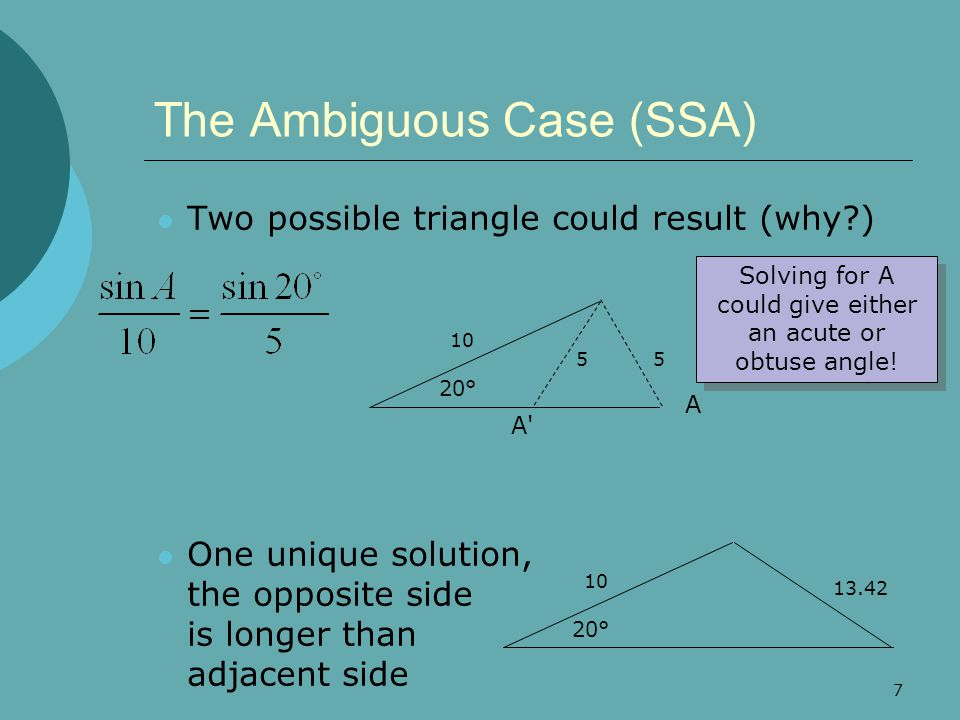 8 Try It Out  Solve these triangles – watch for ambiguous case 28° 78° 44 32° 9.0 14