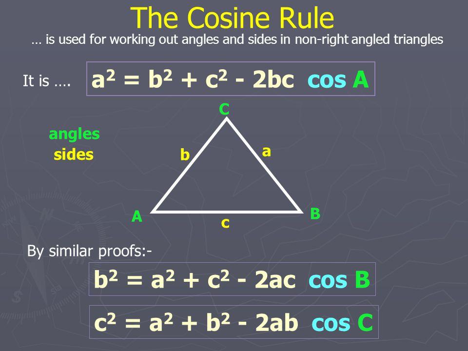 a 2 = b 2 + c 2 - 2bc cos A The Cosine Rule - example A B C 8 6 a .