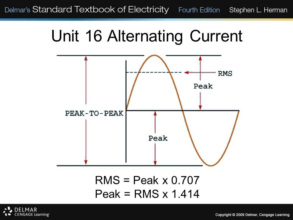 Unit 16 Alternating Current RMS = Peak x 0.707 Peak = RMS x 1.414