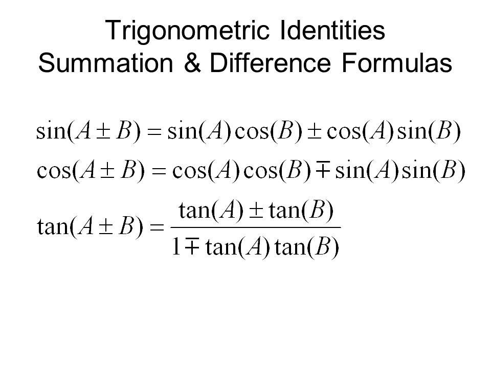 Trigonometric Identities Summation & Difference Formulas