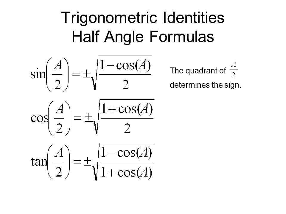 Trigonometric Identities Half Angle Formulas The quadrant of determines the sign.
