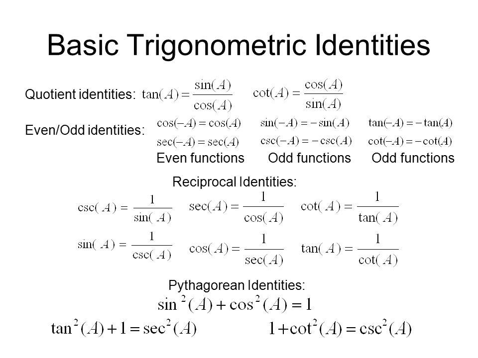 Basic Trigonometric Identities Quotient identities: Reciprocal Identities: Pythagorean Identities: Even/Odd identities: Even functionsOdd functions